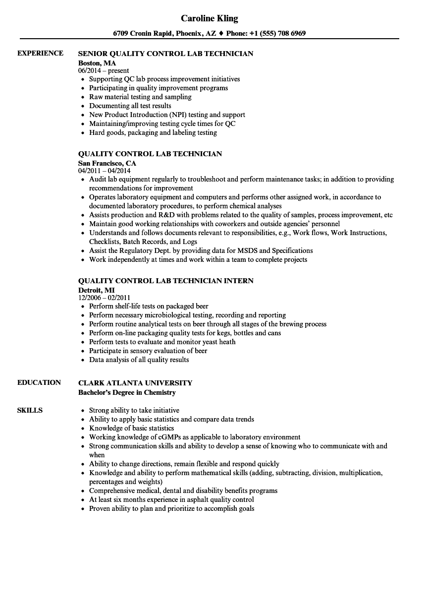 Quality Control Lab Technician Resume Samples | Velvet Jobs