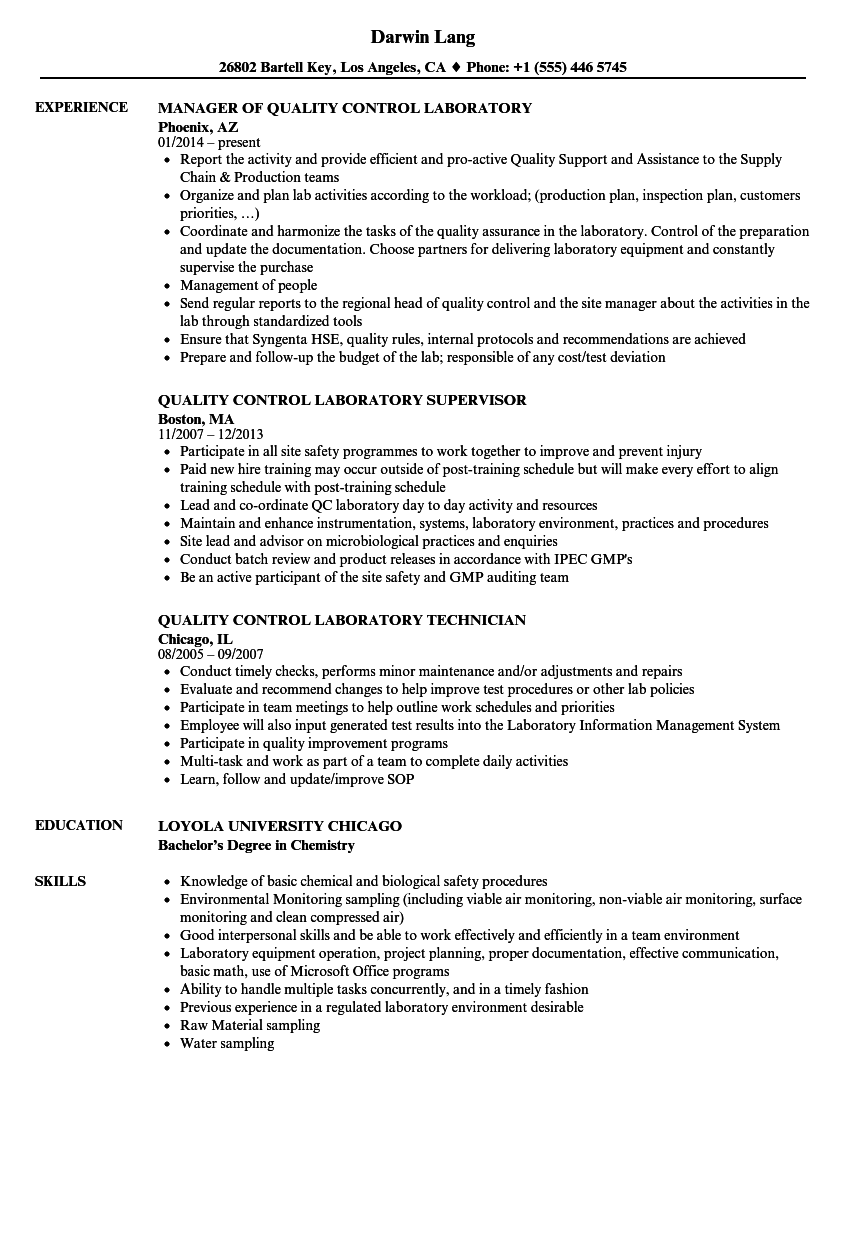 Quality Control Laboratory Resume Samples | Velvet Jobs