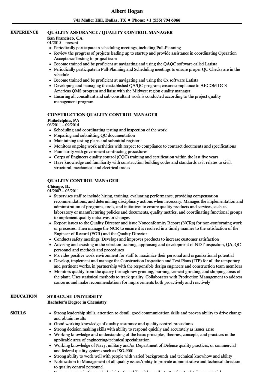 Quality Control Manager Resume Samples | Velvet Jobs