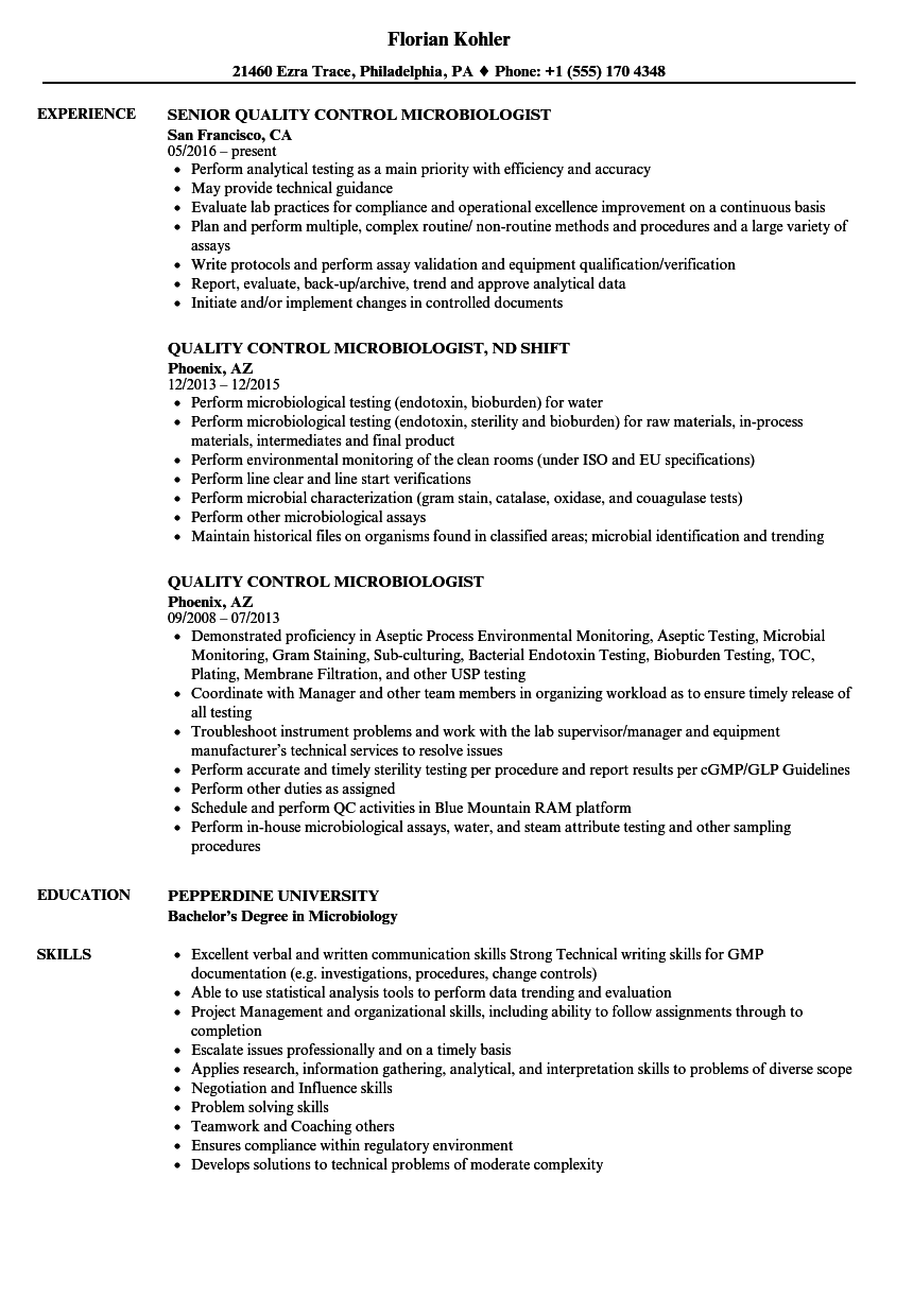 Quality Control Microbiologist Resume Samples | Velvet Jobs