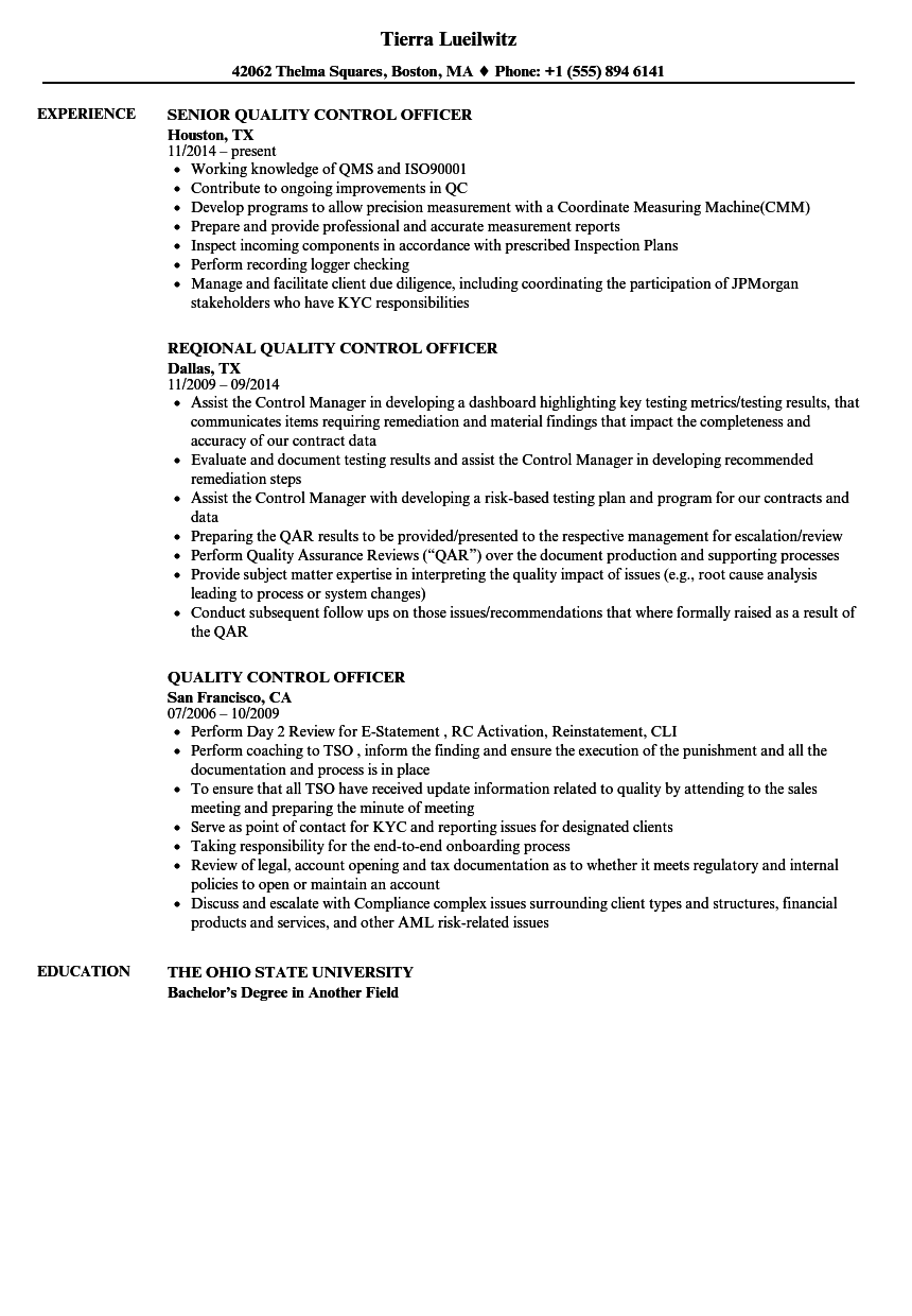Quality Control Officer Resume Samples | Velvet Jobs