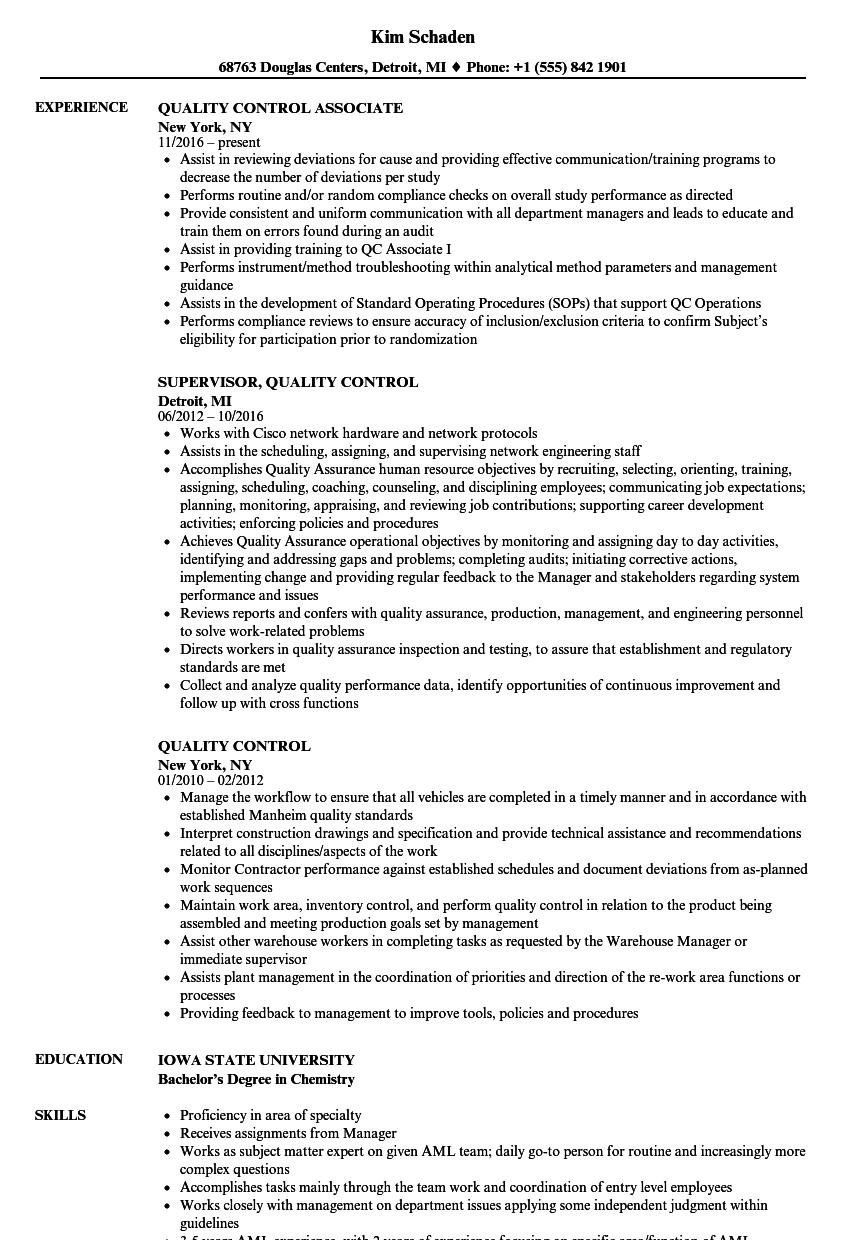 quality control resume - Ideal.vistalist.co