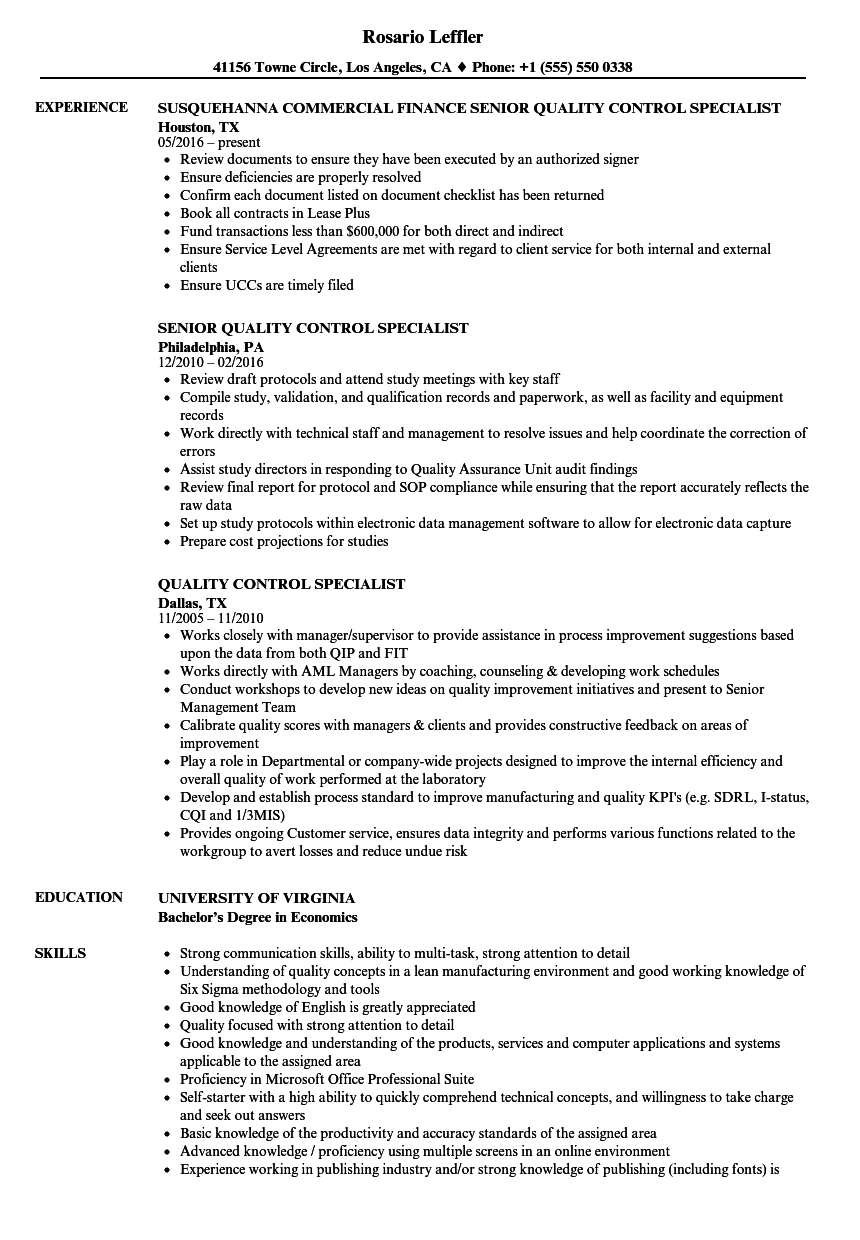 Quality Control Specialist Resume Samples | Velvet Jobs