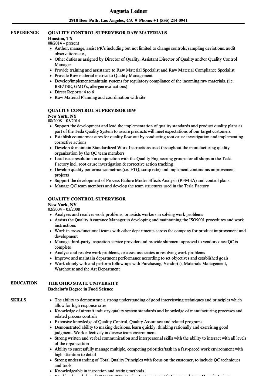 Quality Control Supervisor Resume Samples | Velvet Jobs