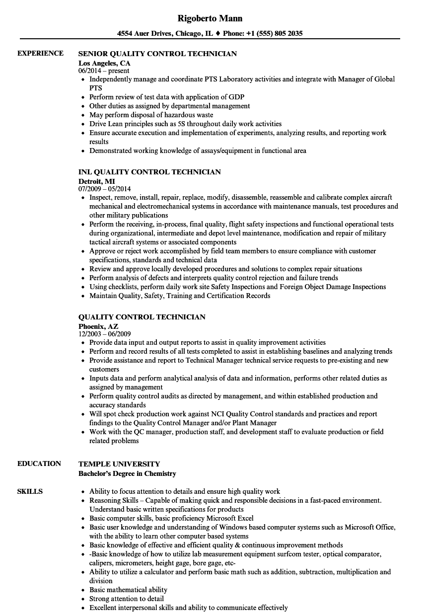 Quality Control Technician Resume Samples | Velvet Jobs