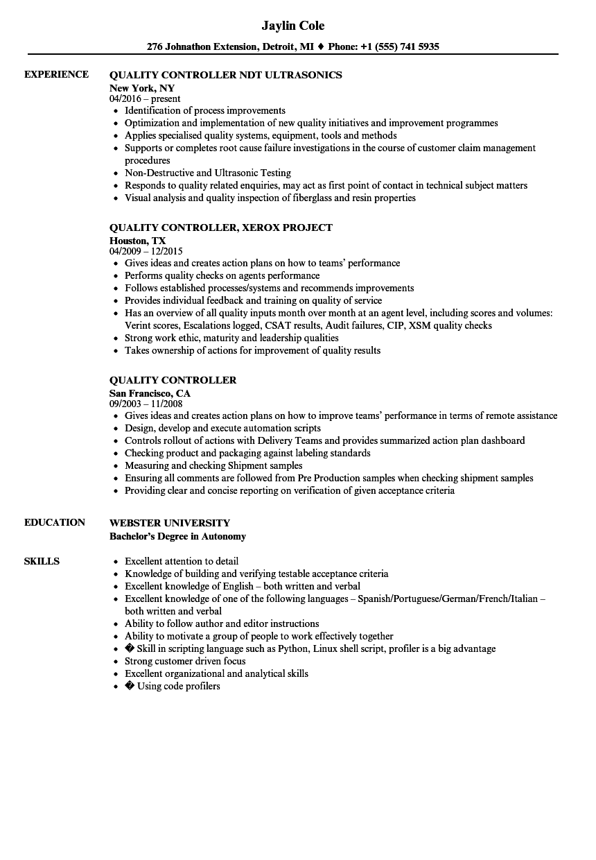 Quality Controller Resume Samples | Velvet Jobs