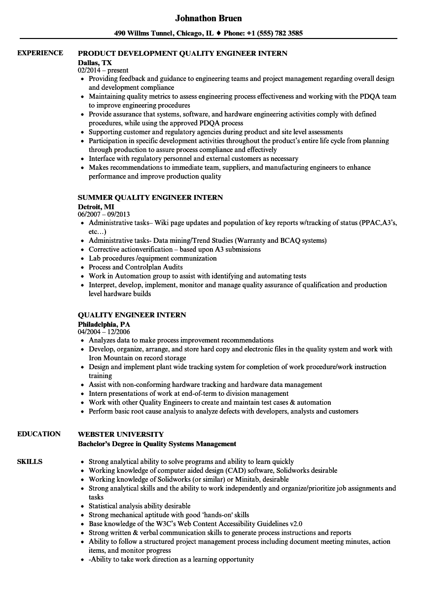 Quality Engineer Intern Resume Samples | Velvet Jobs