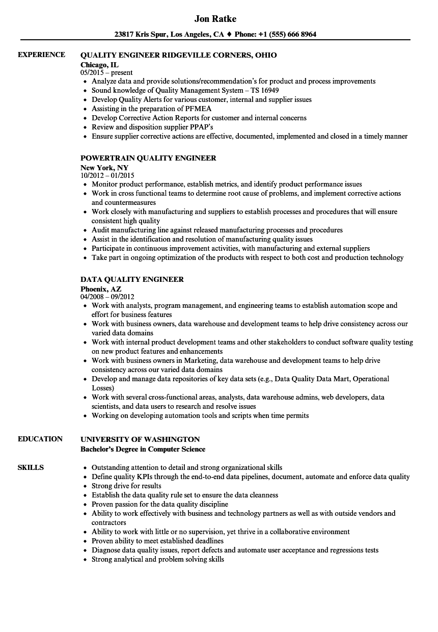 quality engineer quality engineer resume samples