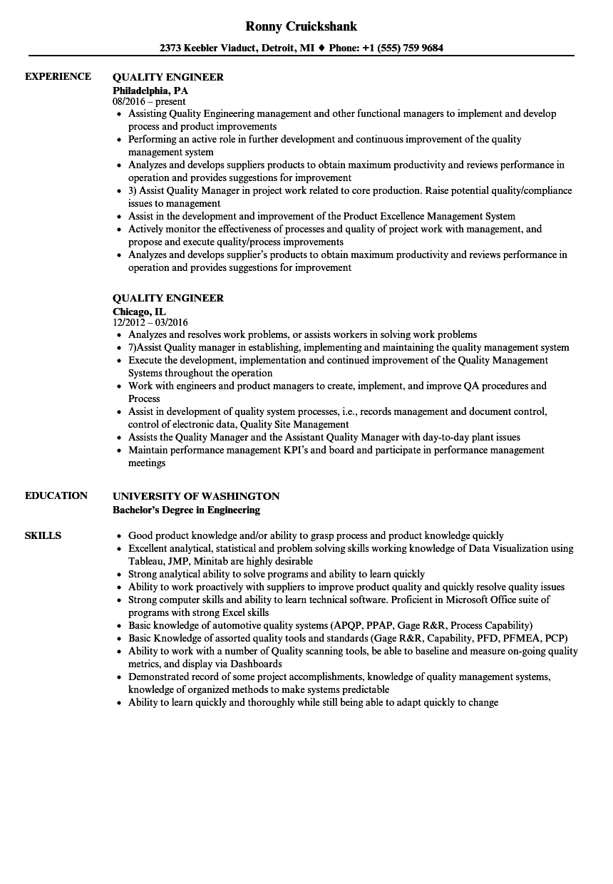 Quality Engineer Resume Samples | Velvet Jobs