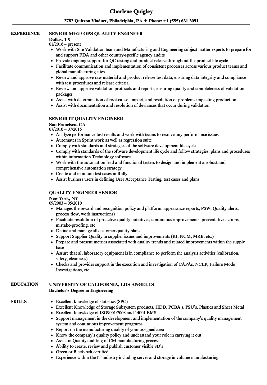 nobby automotive quality engineer sample resume spelndid download