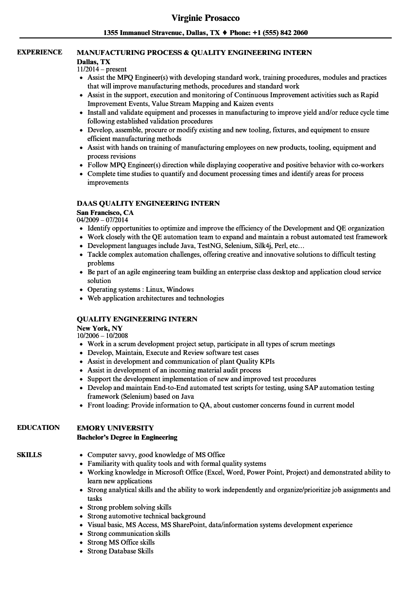Quality Engineering Intern Resume Samples Velvet Jobs