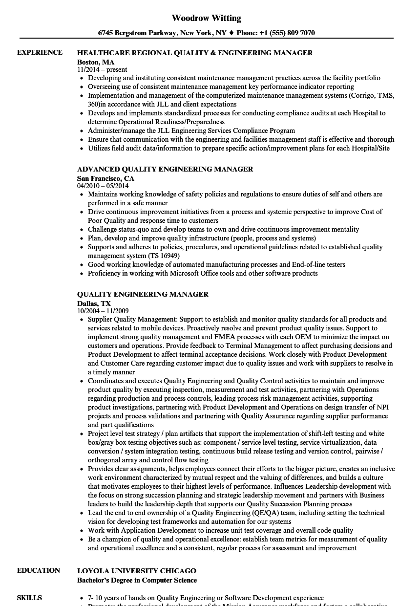 quality engineering manager resume samples