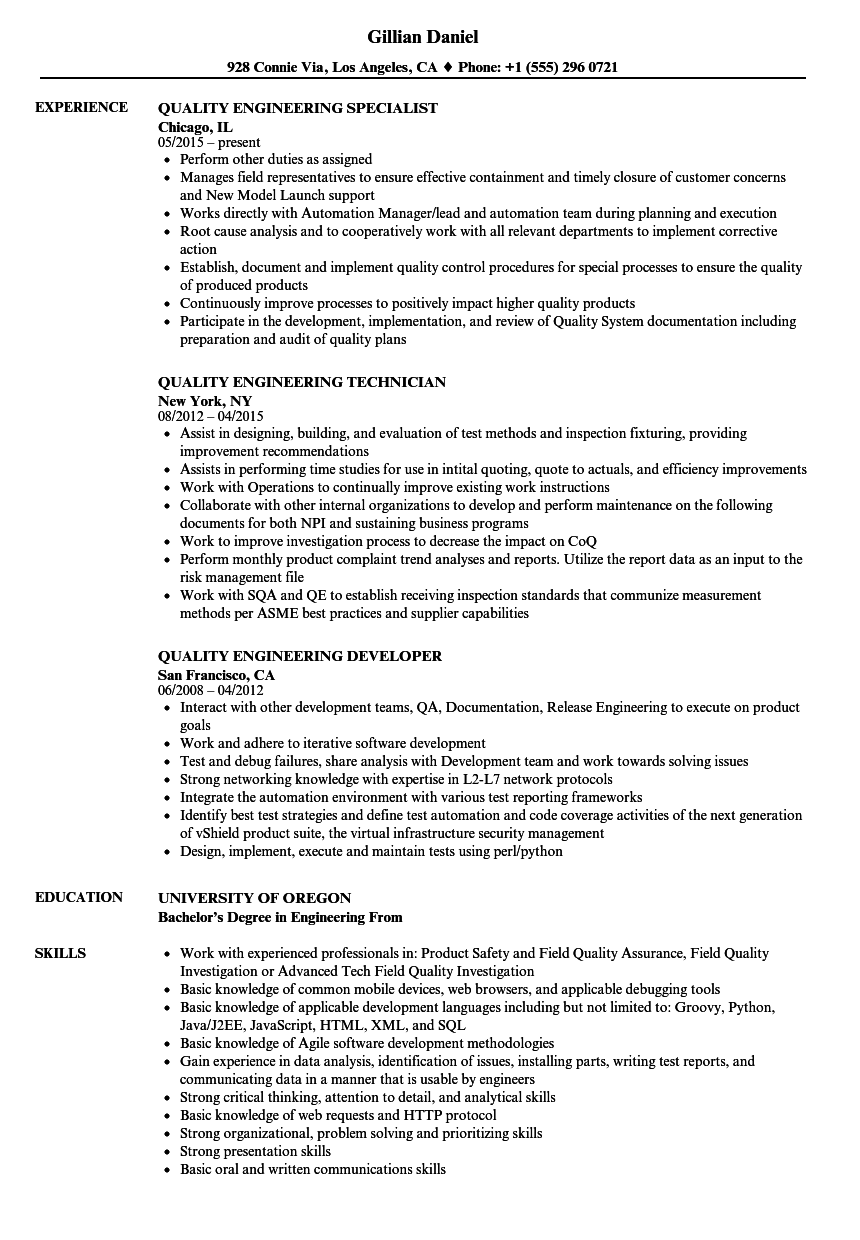 Quality Engineering Resume Samples | Velvet Jobs
