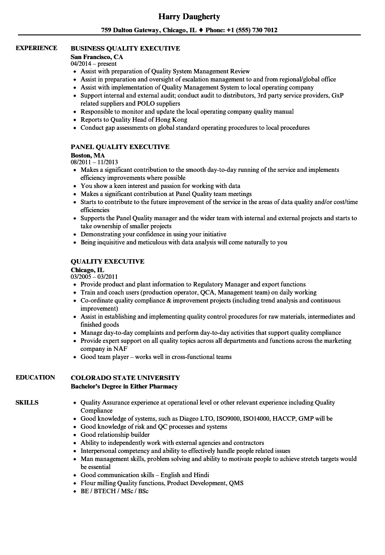 quality executive resume samples