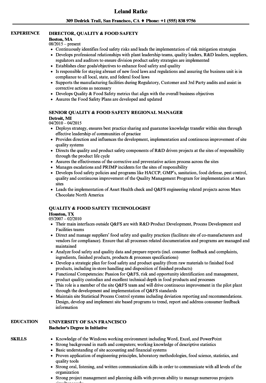 quality  u0026 food safety resume samples
