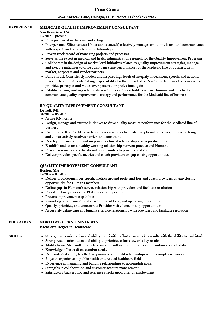 Quality Improvement Consultant Resume Samples | Velvet Jobs