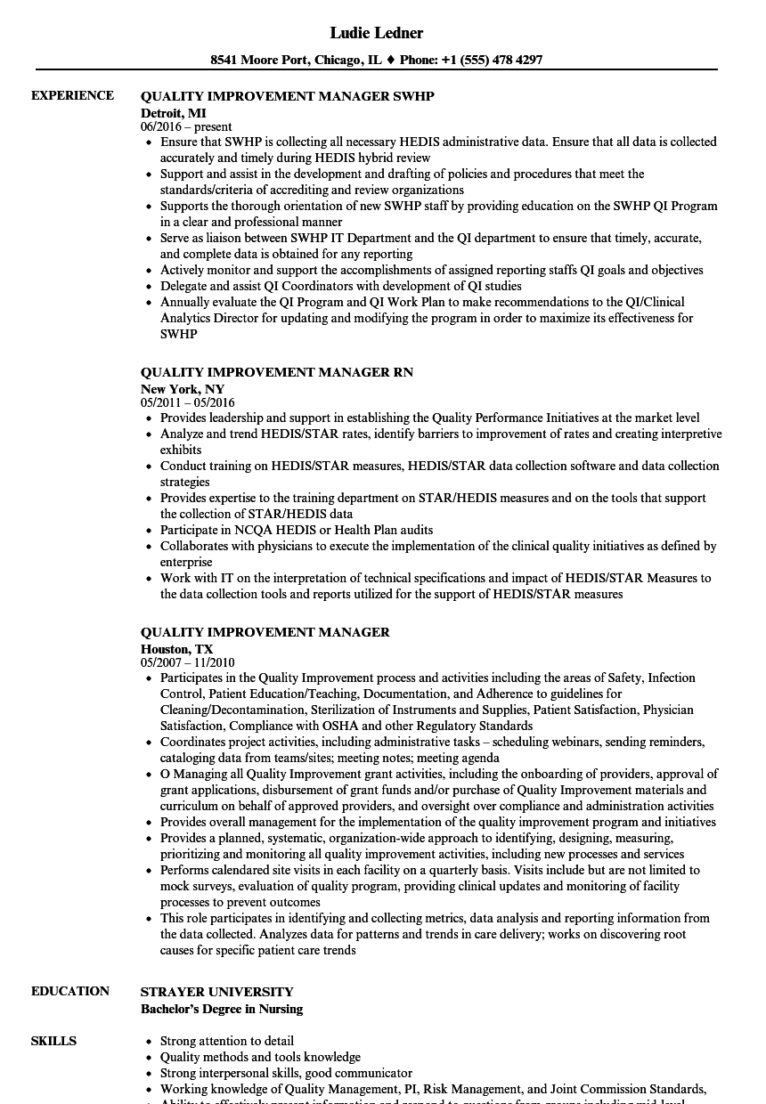 quality improvement manager resume samples