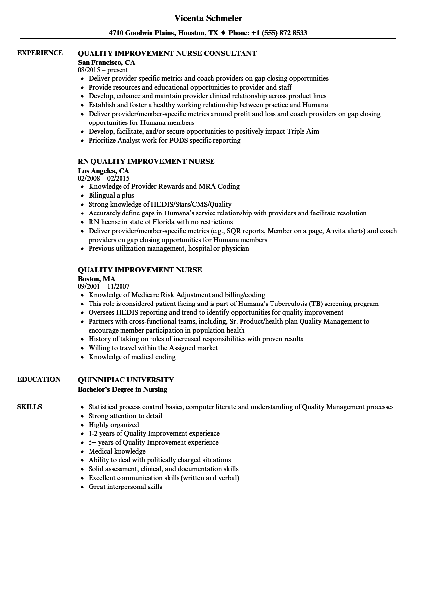 Quality Improvement Nurse Resume Samples Velvet Jobs