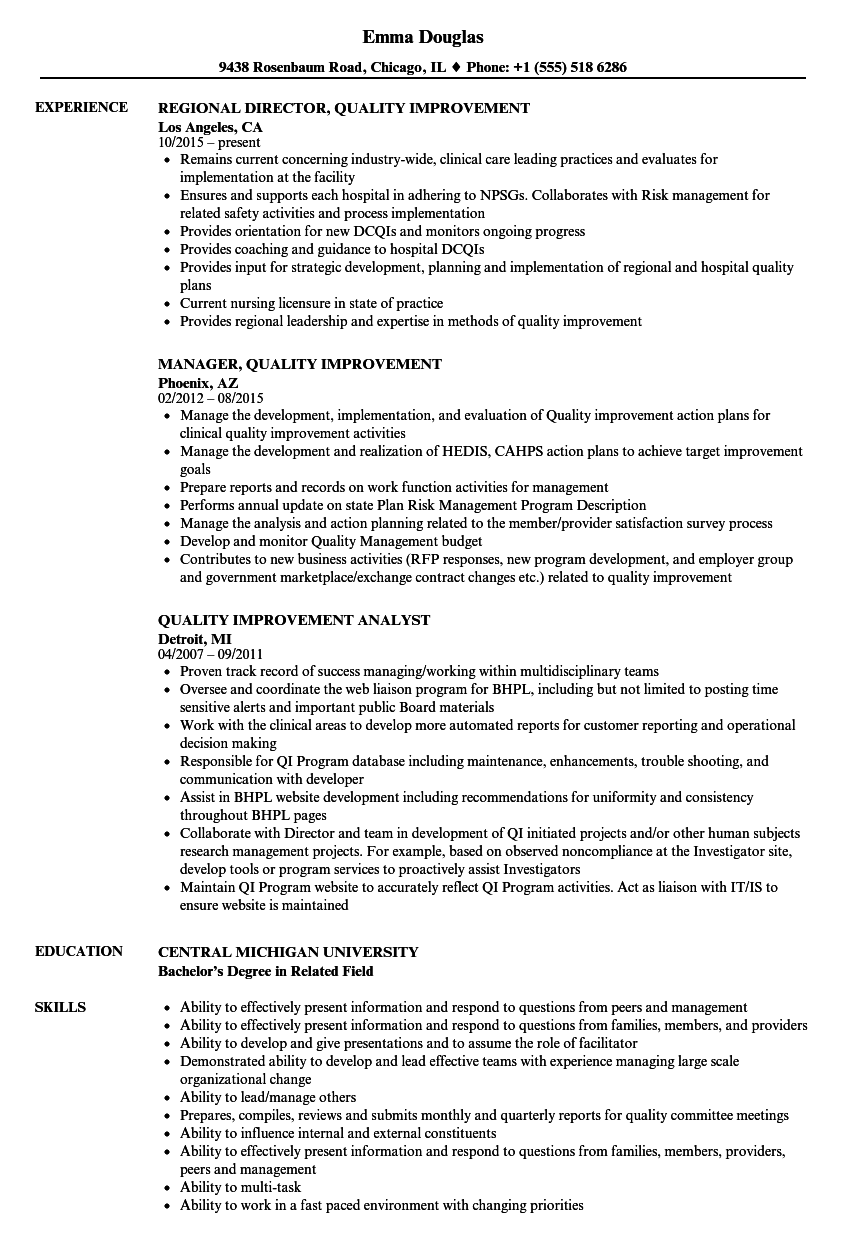 Quality Improvement Resume Samples | Velvet Jobs on source examples, valid sentences examples, wish list examples, variable data printing examples, space examples, rule examples, content examples, completed job application examples, organization examples, place examples, index card examples, employment contract examples, game theory matrix examples, college application examples, web application examples, time examples, home automation examples, dynamic html examples, service examples, data normalization examples,