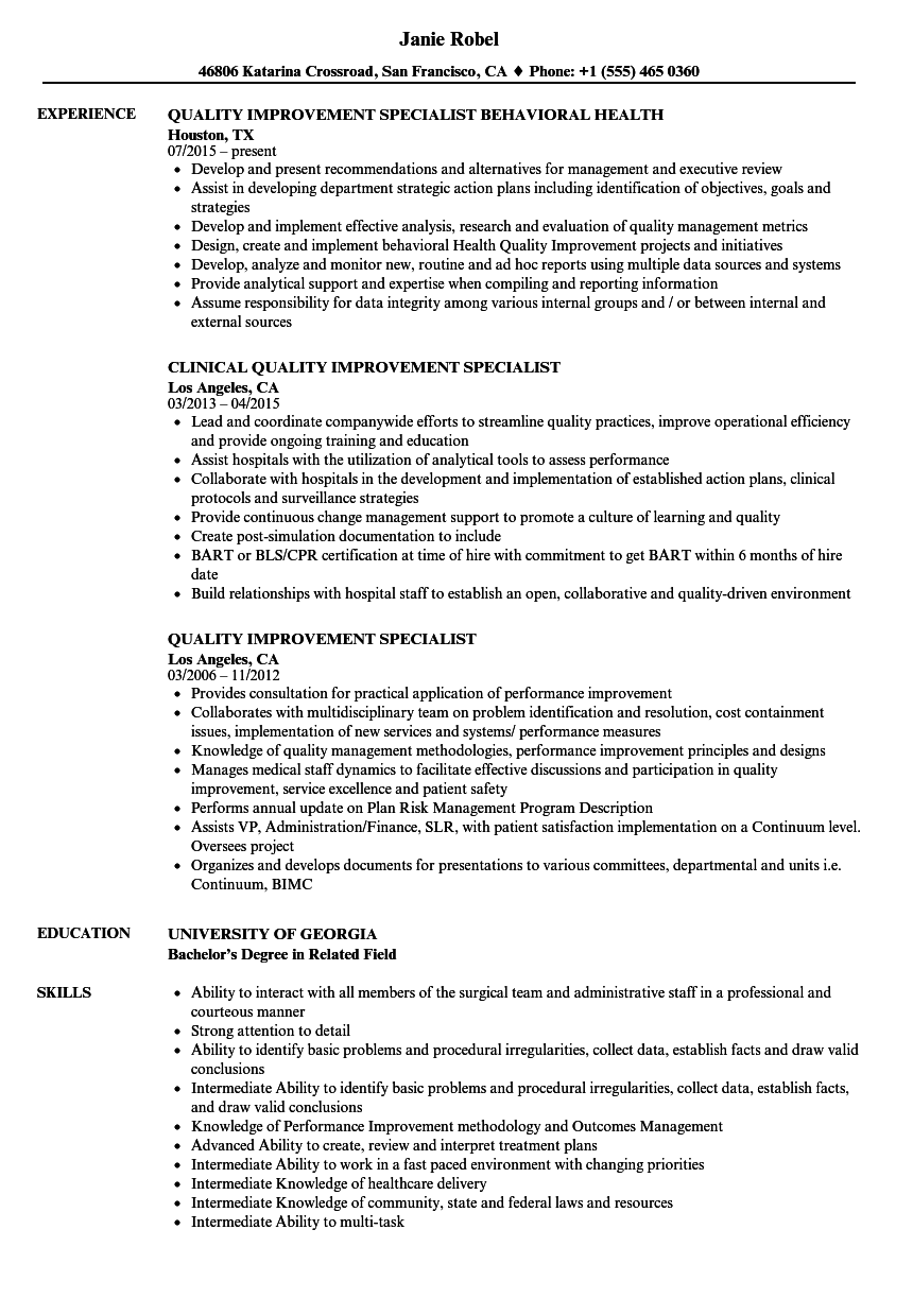 quality improvement specialist resume samples