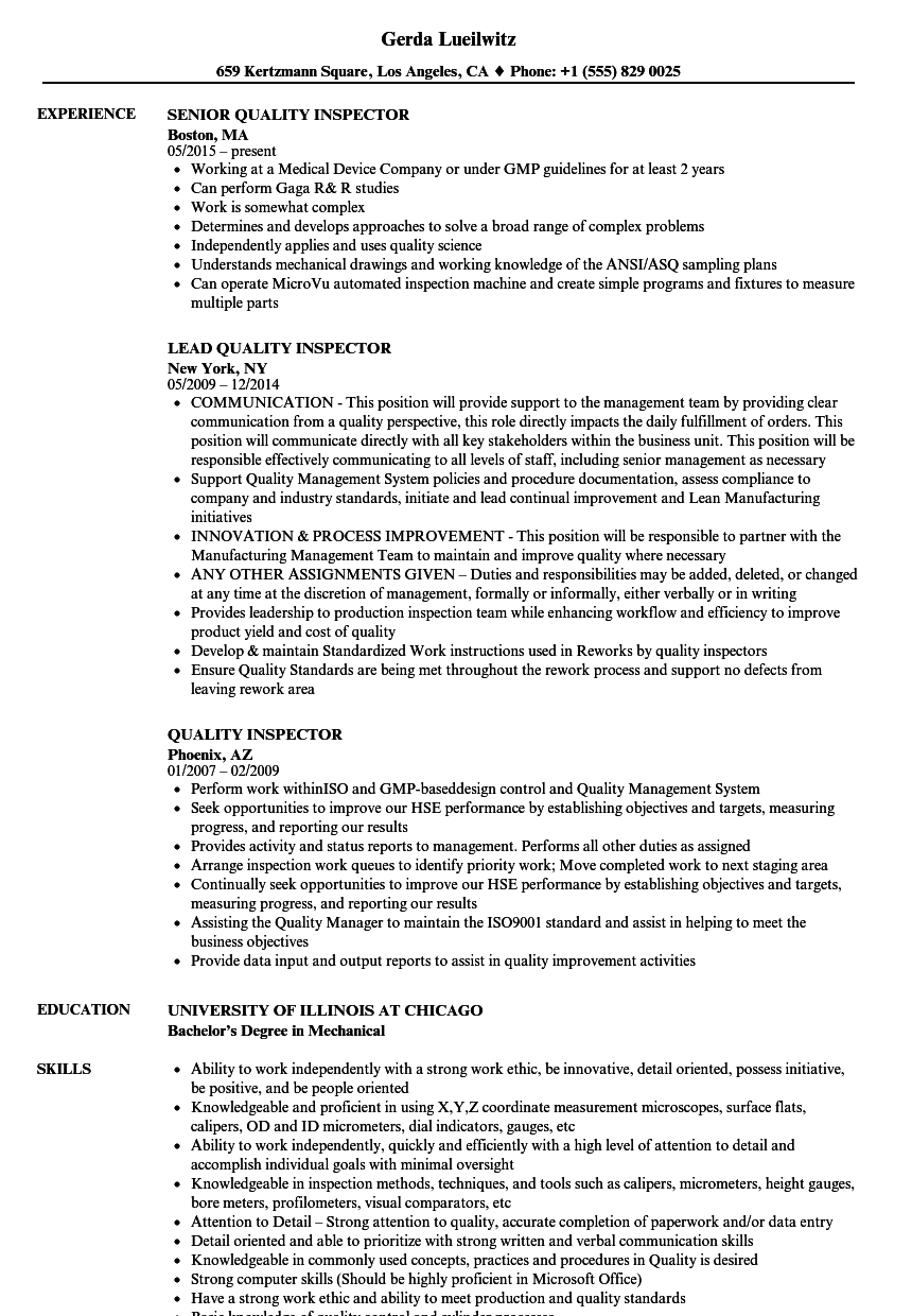 Awesome Velvet Jobs Regarding Quality Inspector Resume