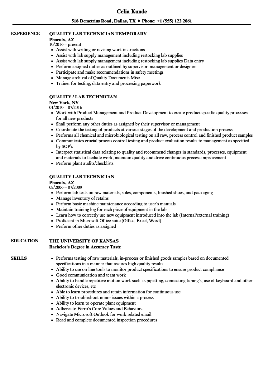 Quality Lab Technician Resume Samples | Velvet Jobs
