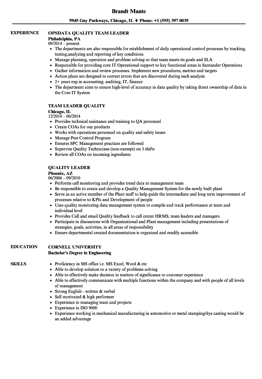 Quality Leader Resume Samples | Velvet Jobs
