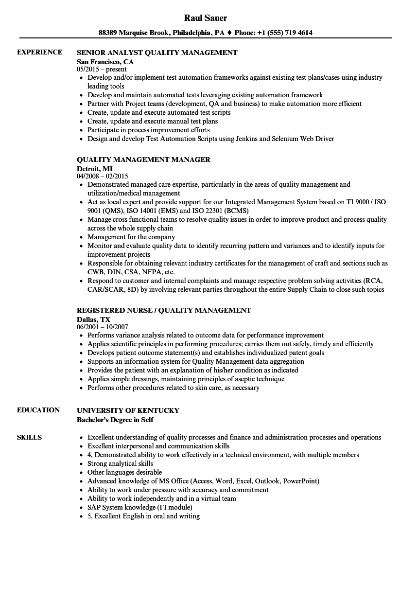 Quality Management Resume Samples | Velvet Jobs