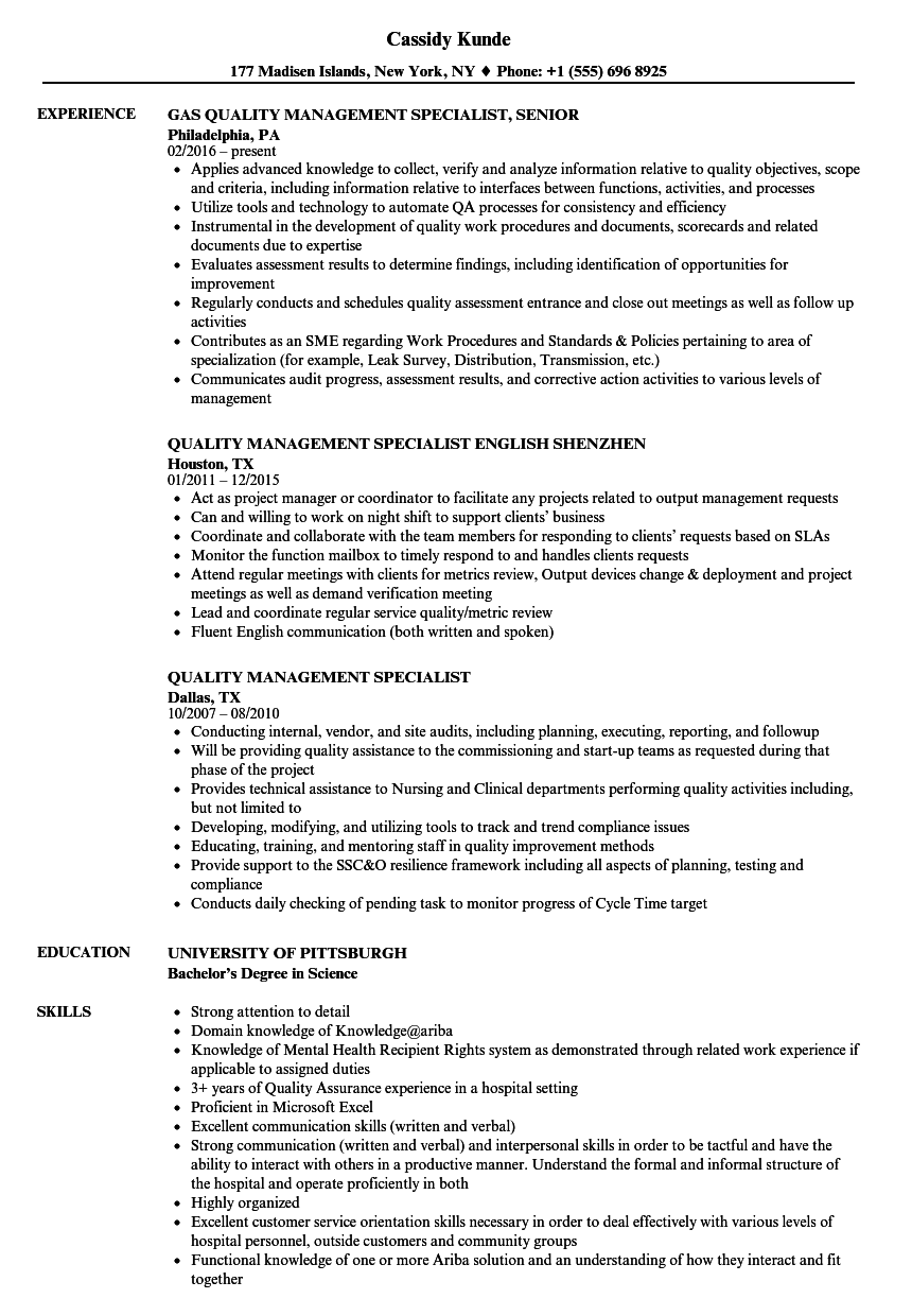 quality management specialist resume samples