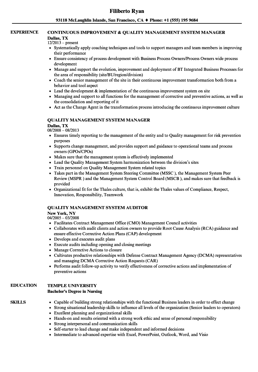 quality management system resume samples