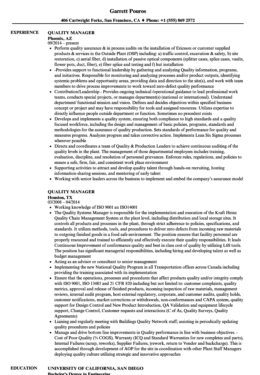 Quality Manager Resume Samples Velvet Jobs