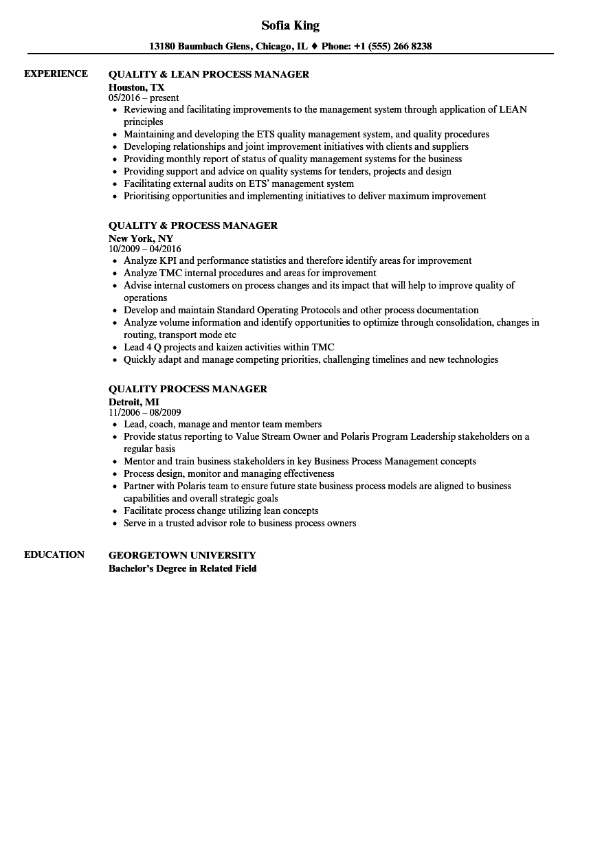 Download Quality Process Manager Resume Sample As Image File  Quality Resume Examples