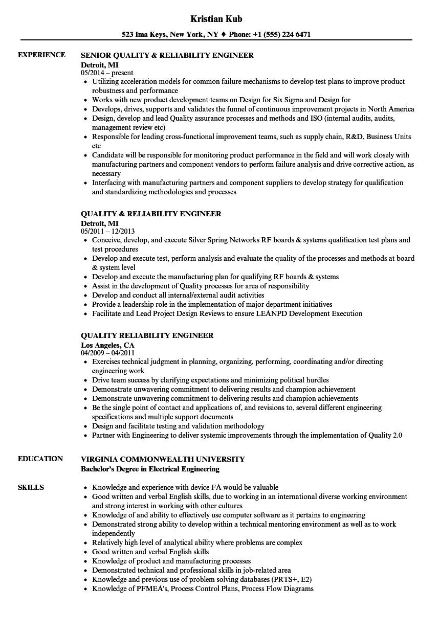quality  u0026 reliability engineer resume samples