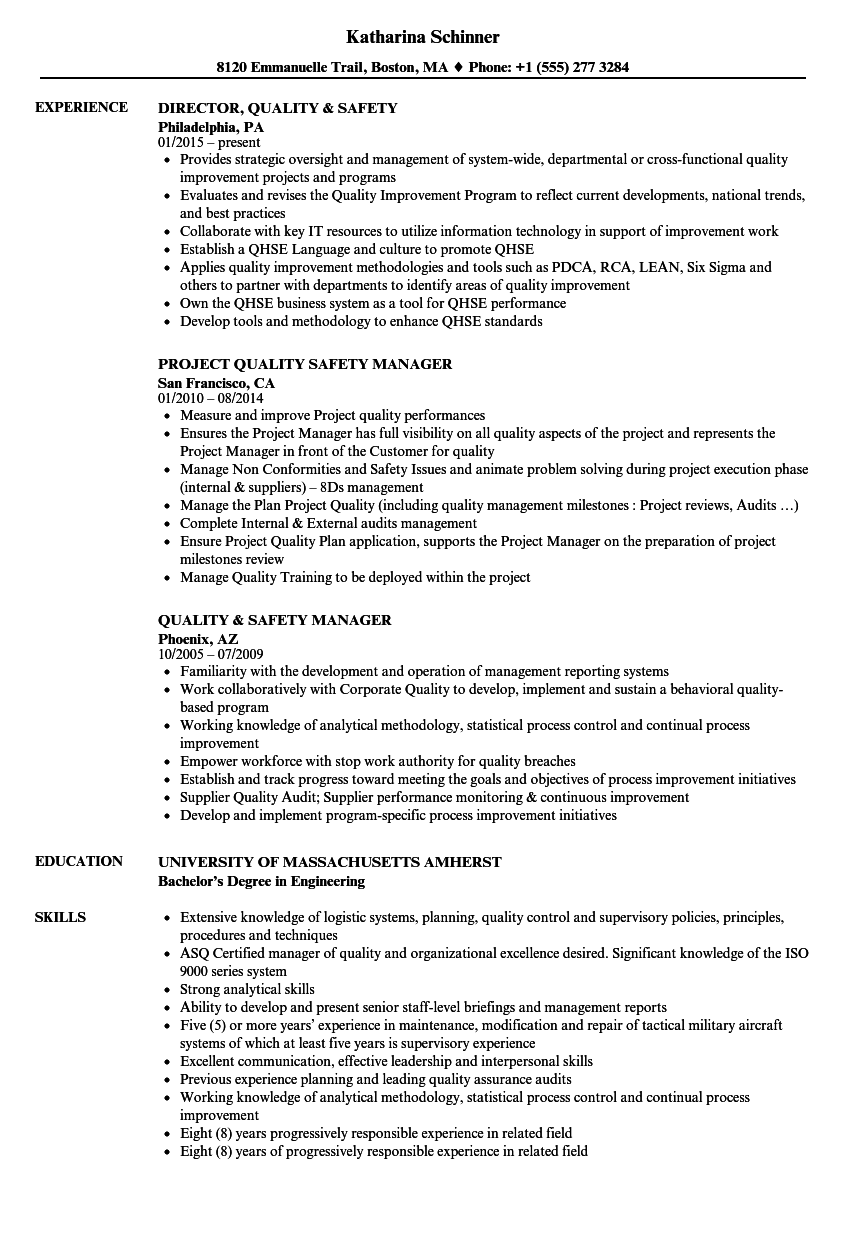 quality    safety resume samples