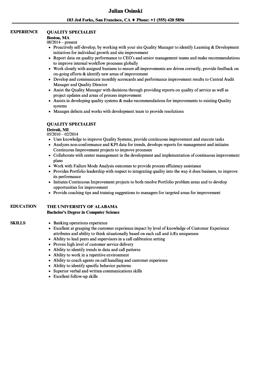 quality specialist resume samples