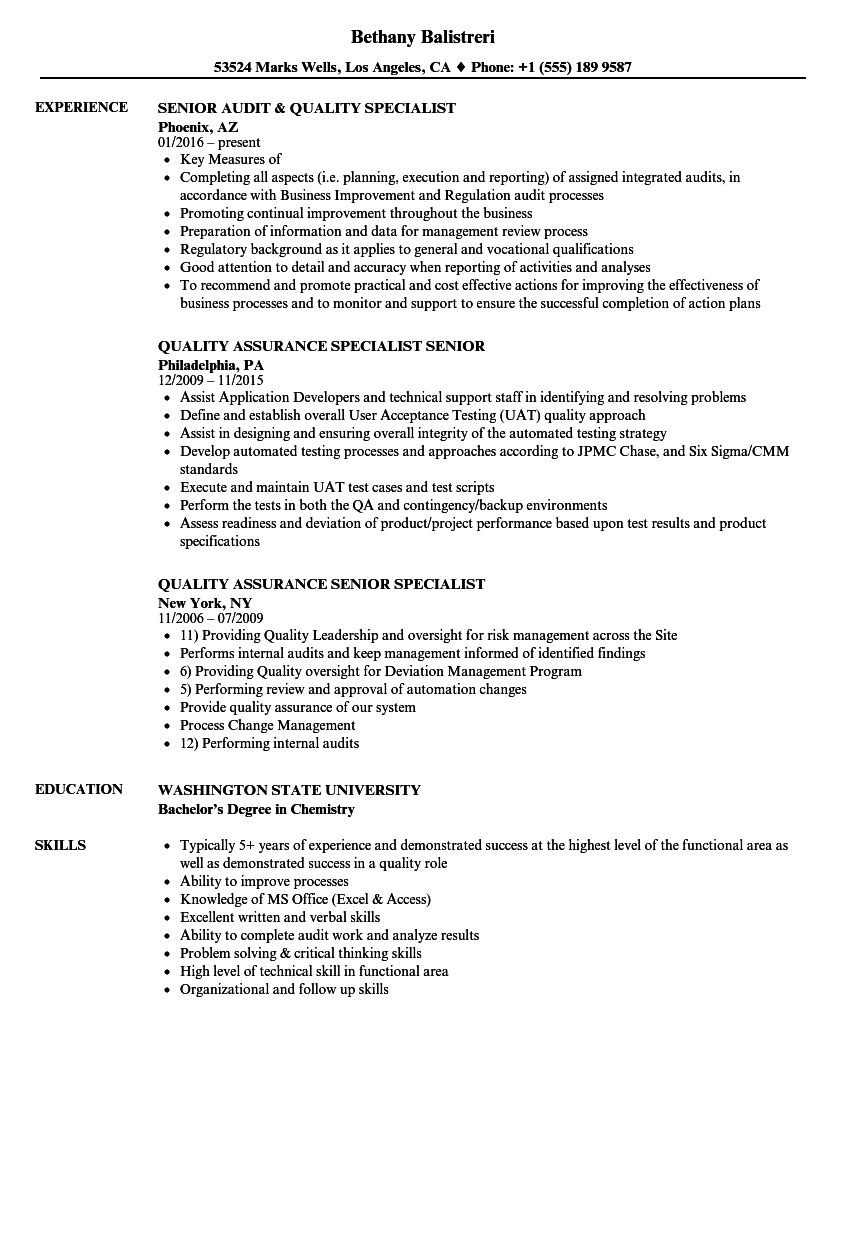 Quality Specialist Senior Resume Samples | Velvet Jobs