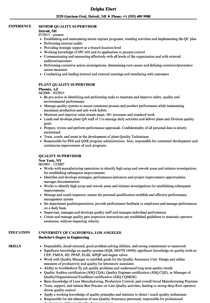 quality supervisor resume samples velvet jobs