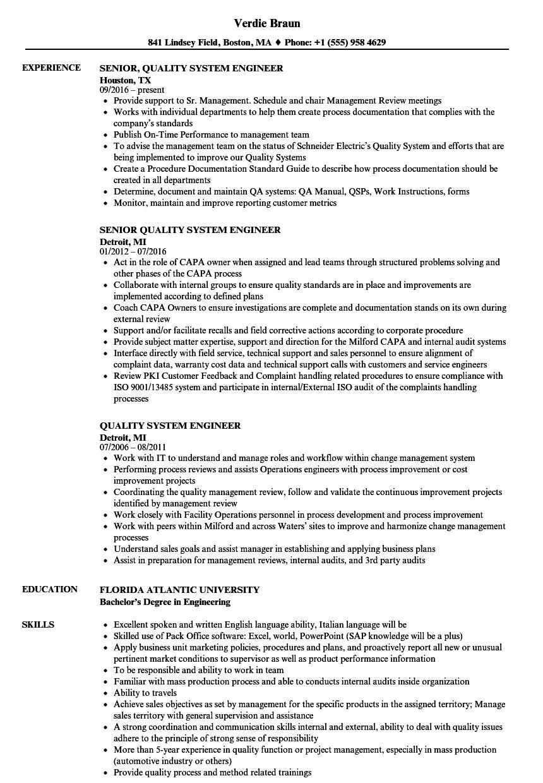 Quality System Engineer Resume Samples | Velvet Jobs