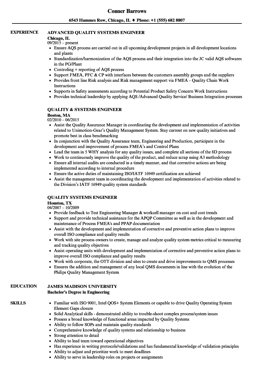 quality systems engineer sample resume staff accountant