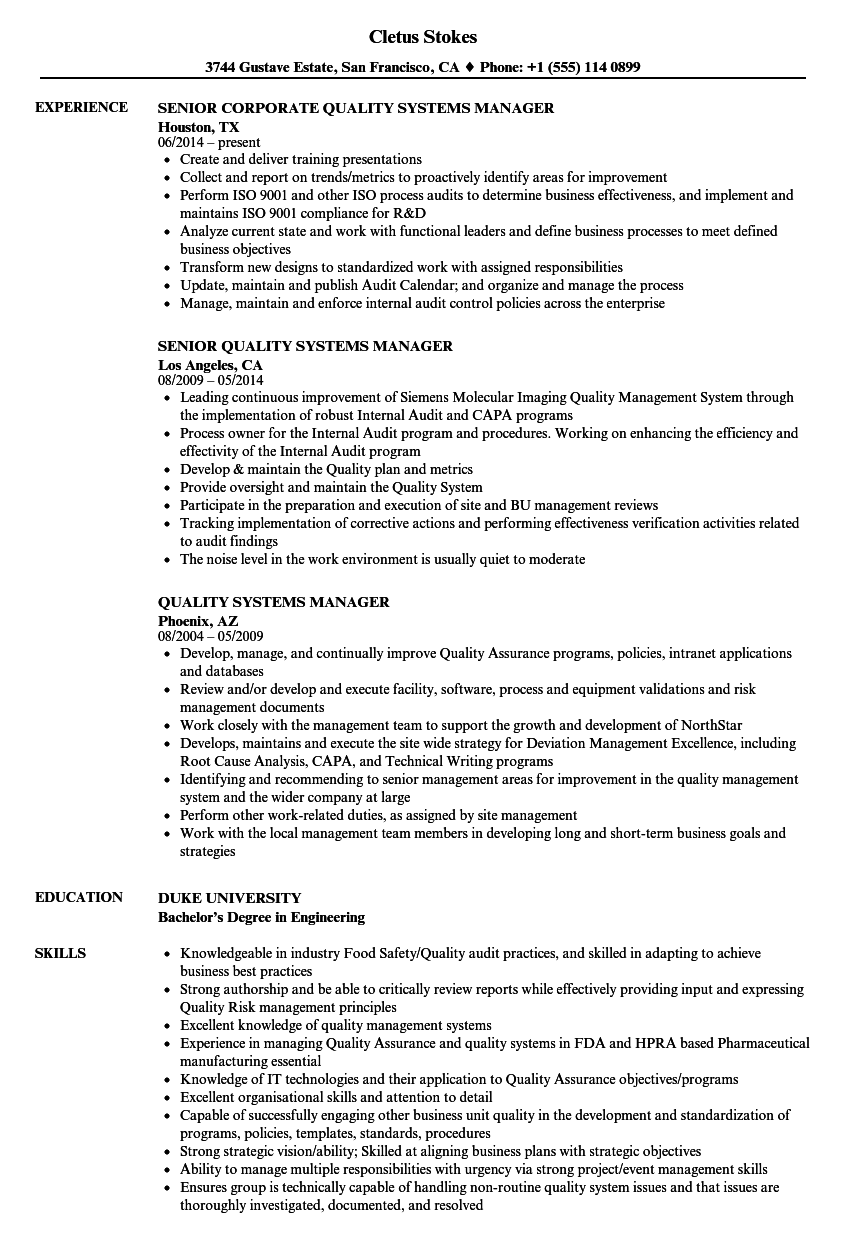 quality systems manager resume samples