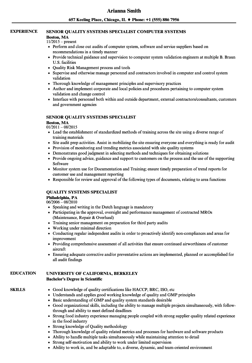 Quality Systems Specialist Resume Samples | Velvet Jobs