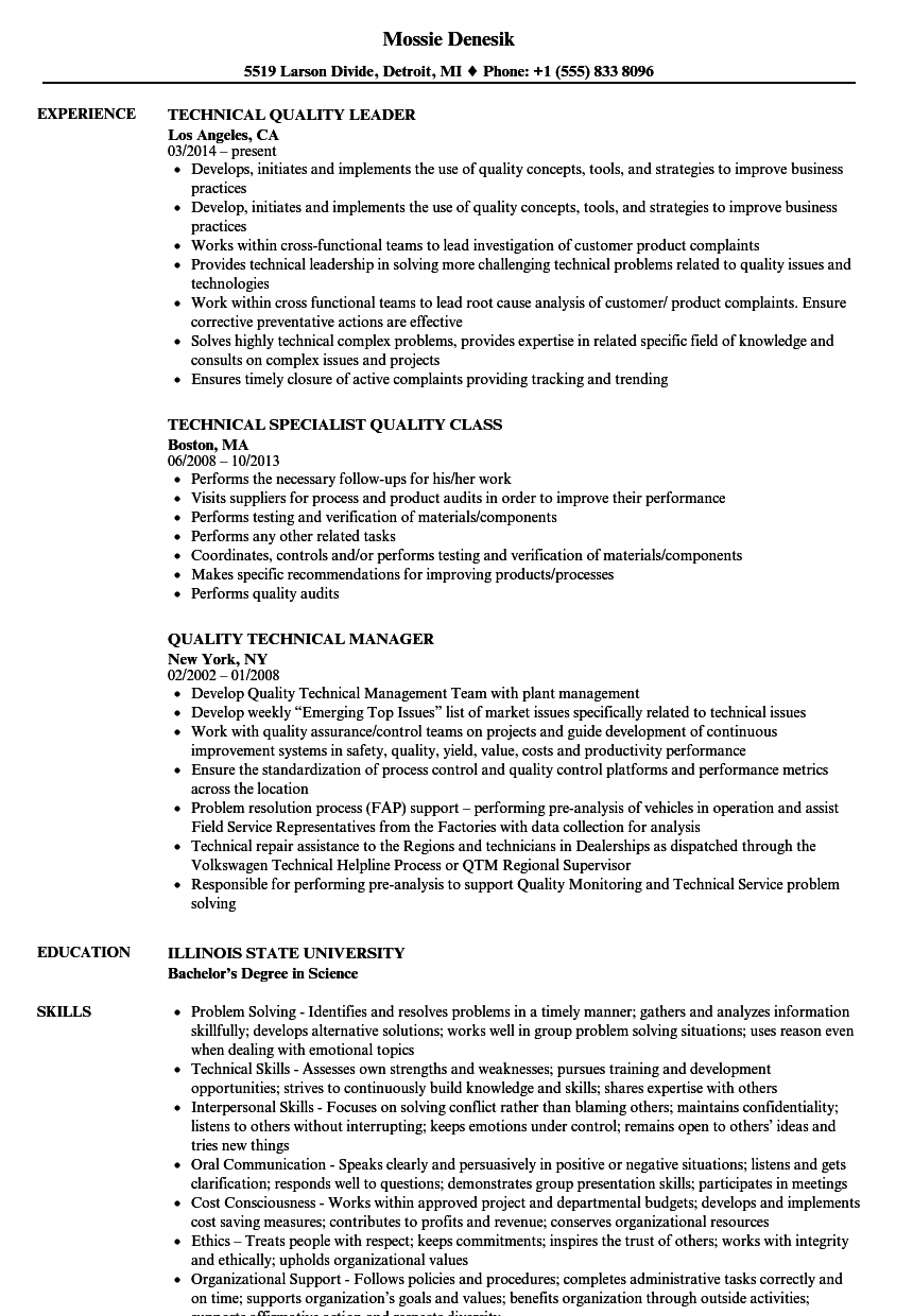 Quality Technical Resume Samples | Velvet Jobs