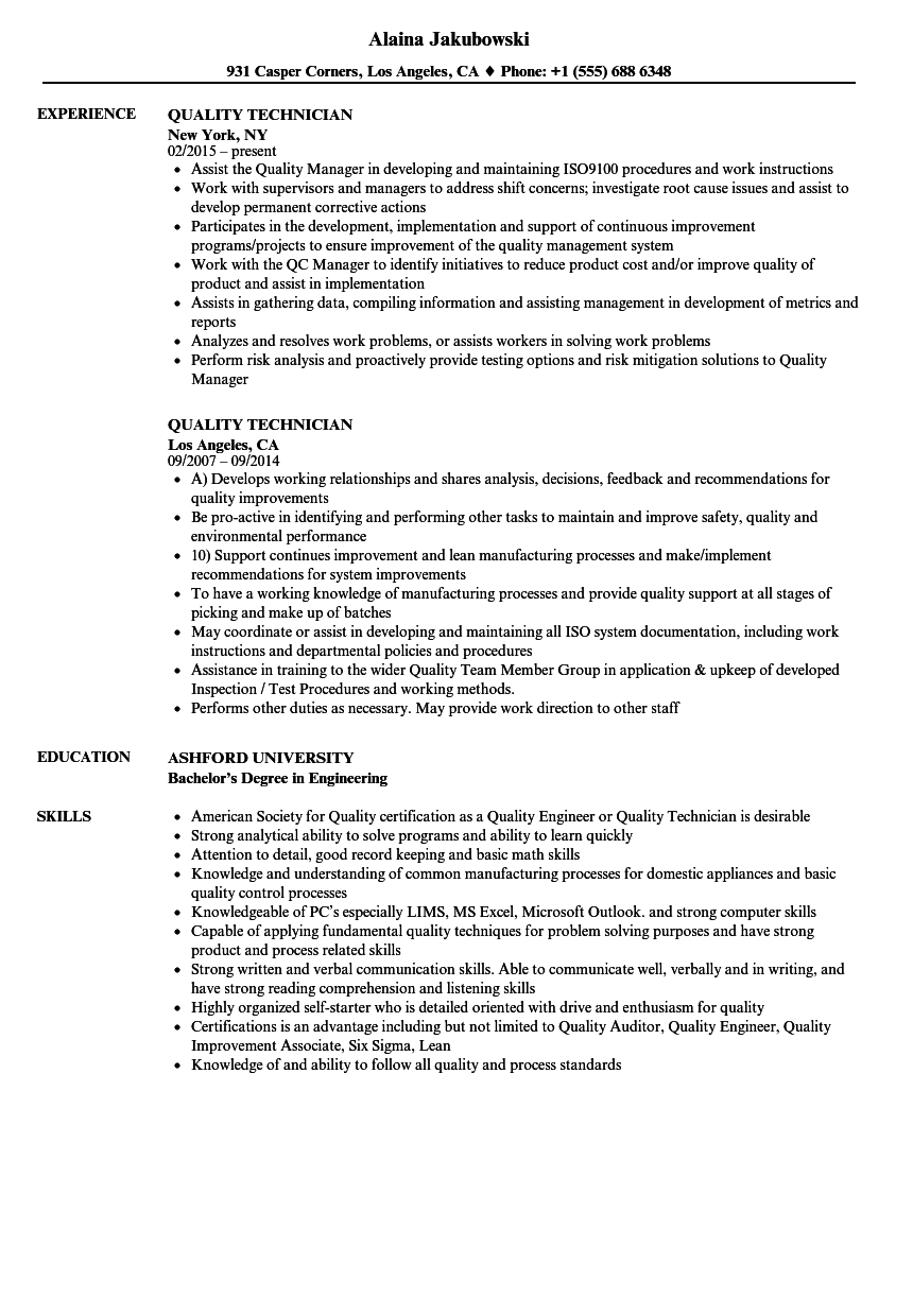 Quality Technician Resume Samples | Velvet Jobs