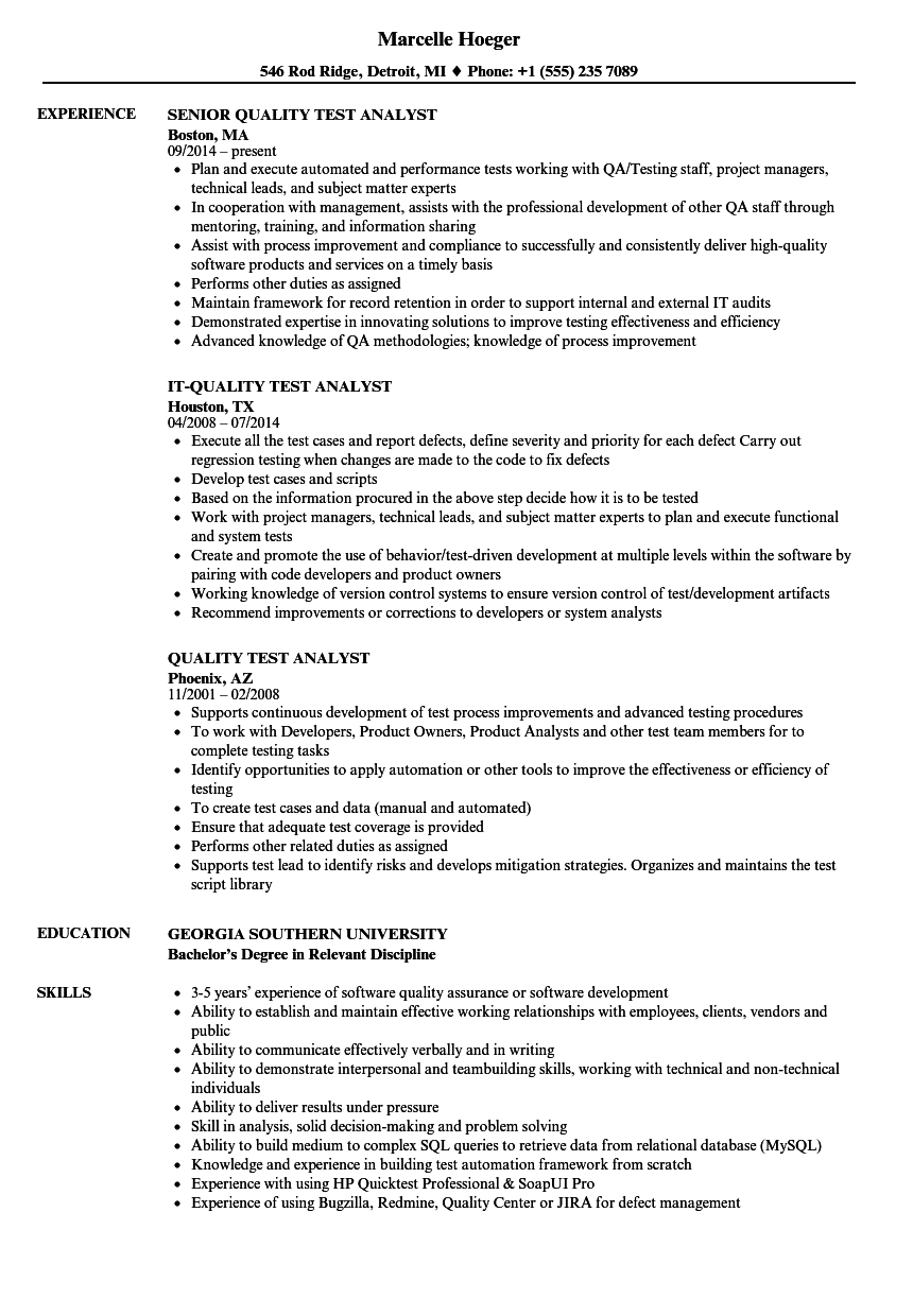 download quality test analyst resume sample as image file - Test Analyst Sample Resume