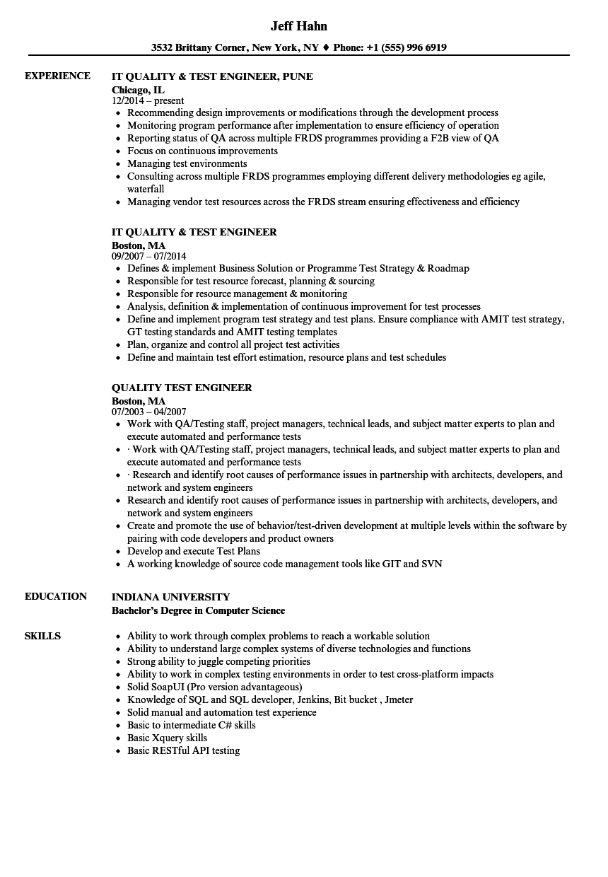 Quality Test Engineer Resume Samples | Velvet Jobs