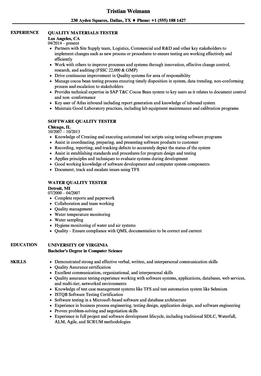 download quality tester resume sample as image file