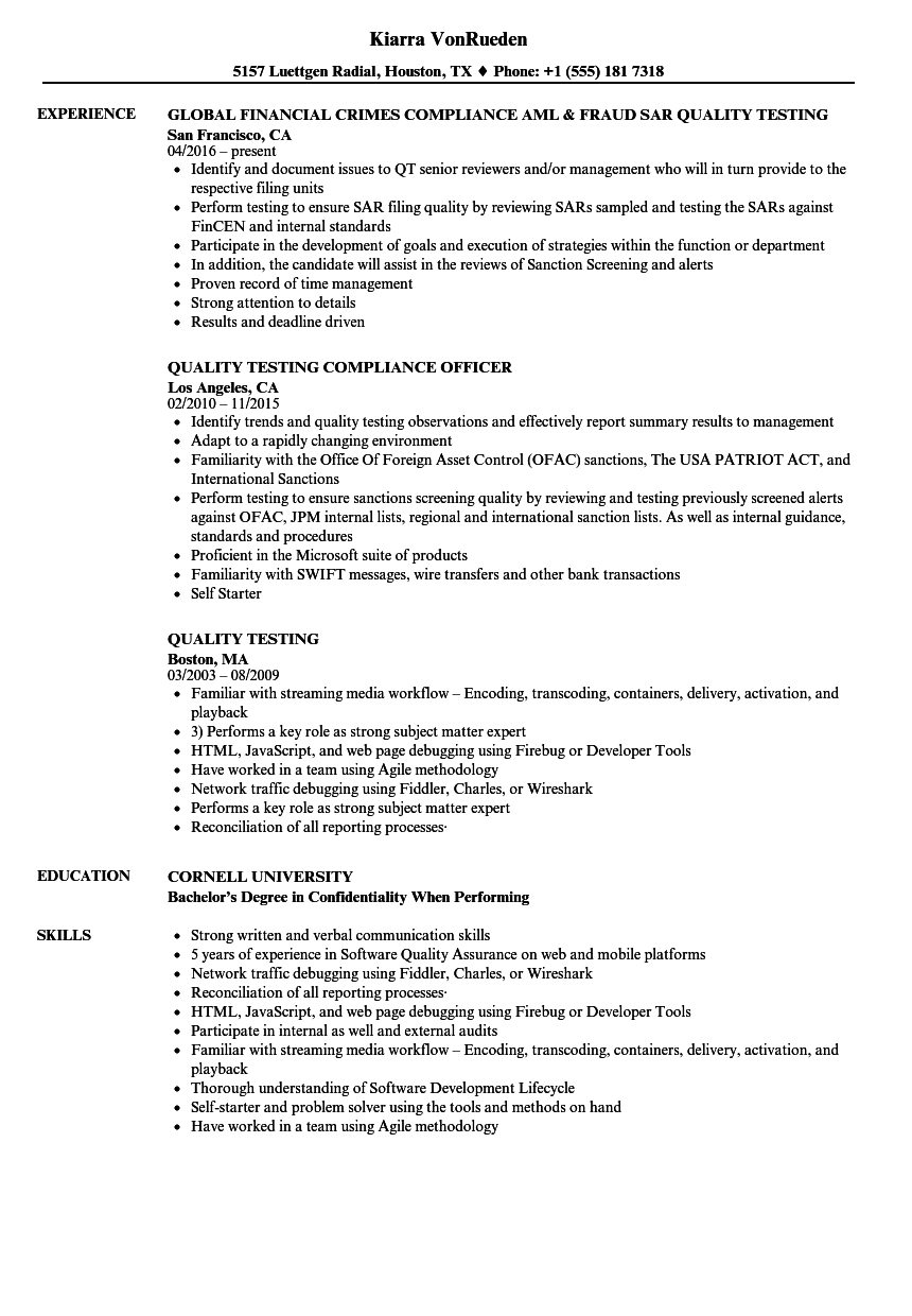 quality testing resume samples velvet jobs
