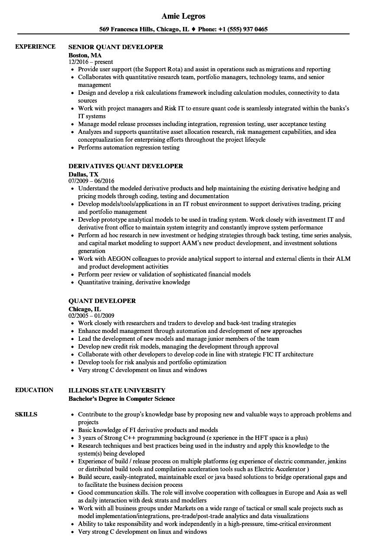 quant developer resume samples