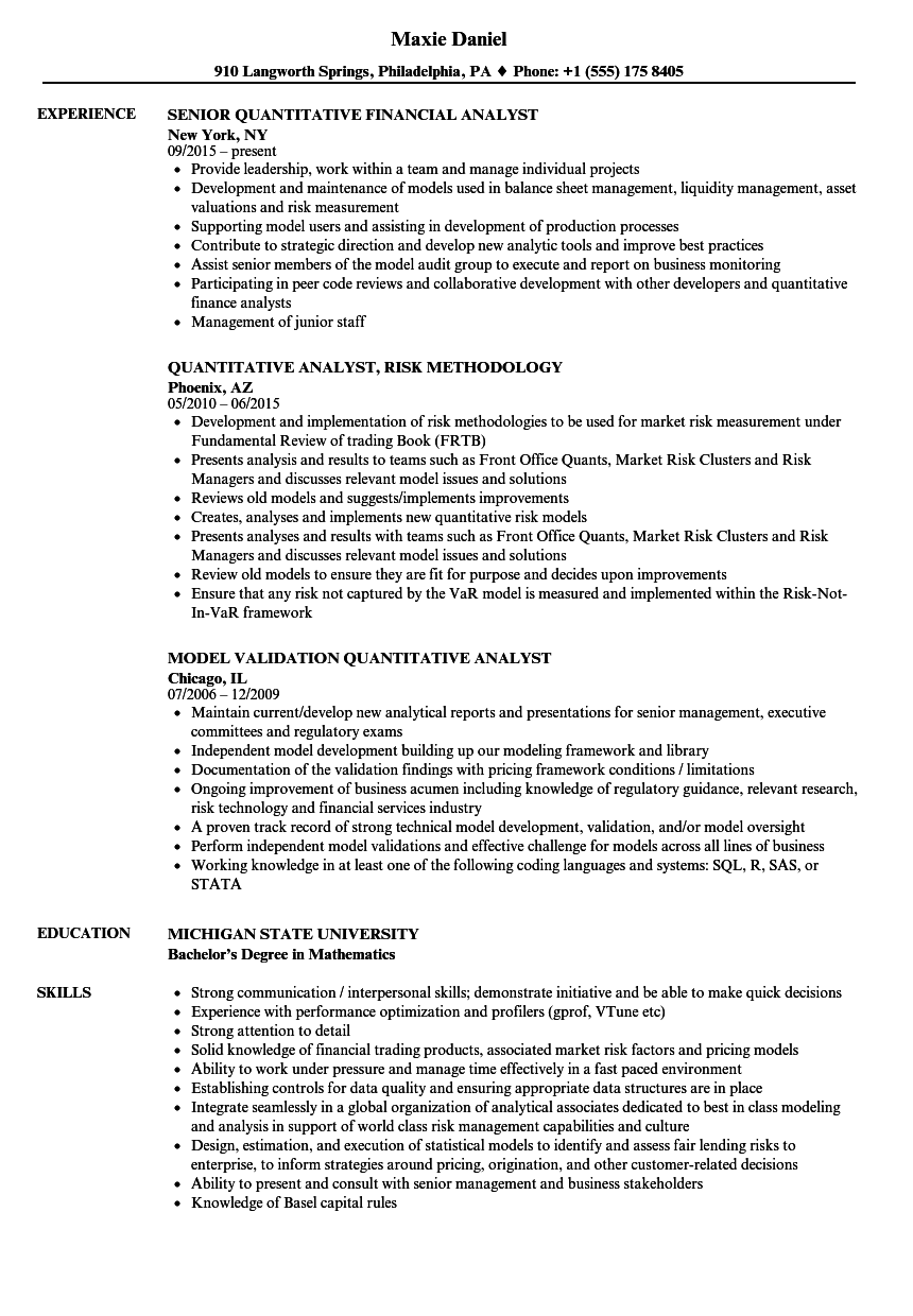 Quantitative Analyst / Quantitative Analyst Resume Samples | Velvet Jobs