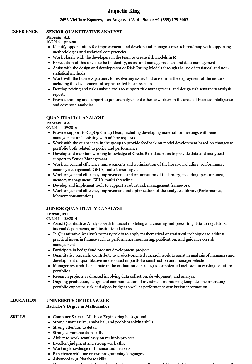 Quantitative Analyst Resume Samples | Velvet Jobs